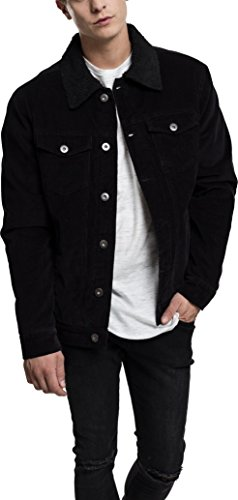 Urban Classics TB1797 Herren und Jungen Sherpa Corduroy Jacket, klassische Kord Trucker-Jeansjacke für Herbst und Winter, mit Fell warm gefüttert - Farbe black/black, Größe XL (Lammfell-ein-knopf-blazer)