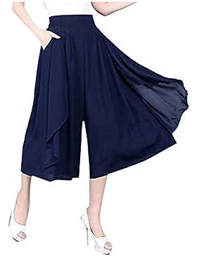 16695639642a Donna Gonna Pantaloni Fashion Casuali Sciolto Pantalone Larghi Eleganti  Vintage Ragazze Giovane Colori Solidi.