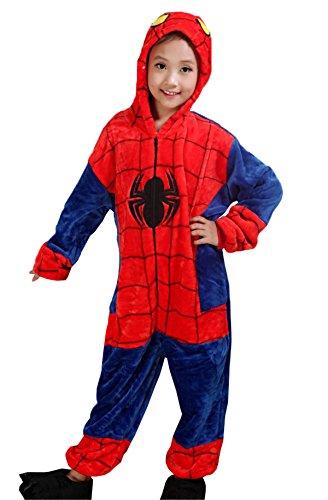 Kostüm Hemd Einem Mit Flanell - Haroty kinder Tierkostüme Jumpsuit Nachtwäsche Karikatur Schlafanzug mit Kapuze Cosplay kuscheliger Spiderman Flanell Pyjamas (110cm)