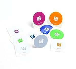 NFC Tag Sticker-Aufkleber 30 mm, 180 + 540 Byte, 100% kompatibel, 10 Stück bedruckt, optimal für Kontaktdaten/Geräte-/ Profilsteuerung (Wlan, Bluetooth, SMS, Telefonanruf per NFC),NXP NFC Chip