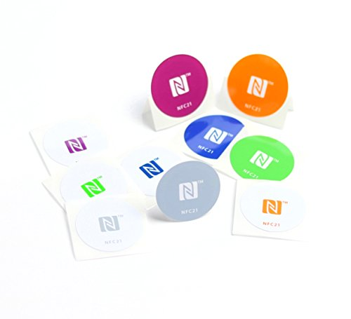 10 NFC Tag autocollants, idéal pour les appareils/profil Commande (Wi-Fi, Bluetooth, NFC Apps)/ coordonnées, 180 + 540 octets, NTAG 213 + 215, 30 mm, couleurs, compatible avec tous les smartphones/tablettes