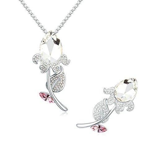 Aooaz Femmes Alliage Bijoux Parures Fleur Rose Cristal Broche Pendentif Collier Partie Engagement Blanc