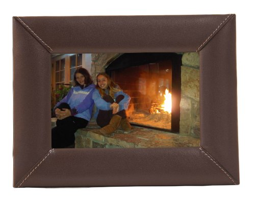 Dacasso Chocolate Marrone Leather Picture Frame, 4 by (Pelle Marrone 4 Coaster)