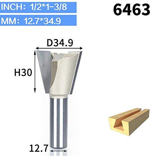 "L-Yune, Werkzeuge 1 stücke 1/4""Schaft Schwalbenschwanz Bits 2 flöte Fräser for Holz Hartmetall Gravur Werkzeug Fräser Holzfäller (Cutting Edge Length : 6463)"