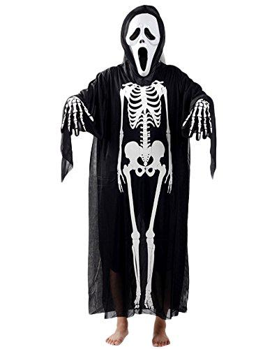 Halloween Kostüm Cosplay Schädel Skelett Geist Fasching Karnevall Erwachsene Kinder