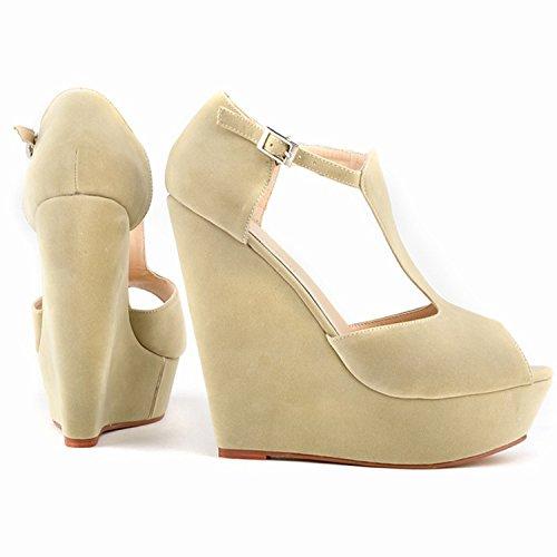 Oasap Women's Peep Toe Buckle Wedge Heels Sandals white