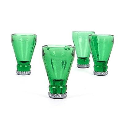 CKB Ltd® Set de 4verres en verre recyclé Style goulot de bouteille inversé Recyclé et transformé Capacité : 60 ml