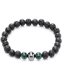 Code Red Lava schwarz grün Aventurin und Hämatit Armband von Länge 7,8cm