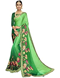 Shangrila Women's Green Color Satin Weightless Printed & Lace Border Saree