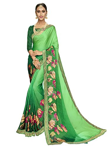 Shangrila Women's Green Color Satin Weightless Printed & Lace Border Saree
