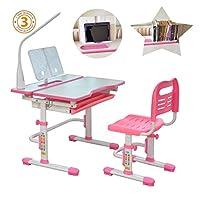 80cm Children Study Table & Chair Set, Kids School Desk, Height Adjustable Study Desk, Tiltable Desktop,Pull-out Drawer, Cup Holder, 3 Settings LED Lamp, suit age 3-16. Model: C402