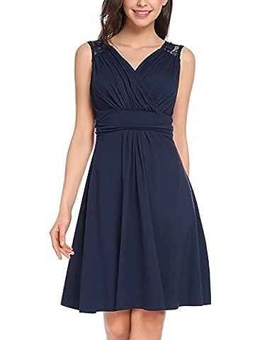 EVA Elegant Damenkleid locker Damenrock Sommerkleid Strandkleid ärmelloses Cocktailpartykleid mit V-Ausschnitt, Größe Label XXXL/EU(44), Farbe Blau