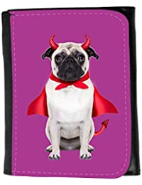 Small Faux Leather Wallet // Q05750621 devil pug dog Byzantine // Small Size Wallet