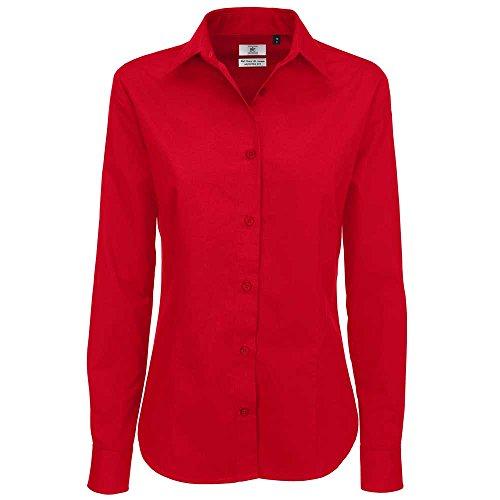 B&C Collection Sharp Long Sleeve Ladies Twill Cotton Smart Formal Work Shirt Deep Red