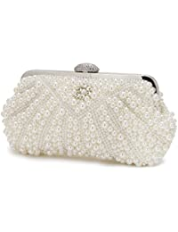 Evening Bag Wedding Pearl Beaded Evening Bags Clutches Rhinestones Metal Purses Wedding Party With Chain White...