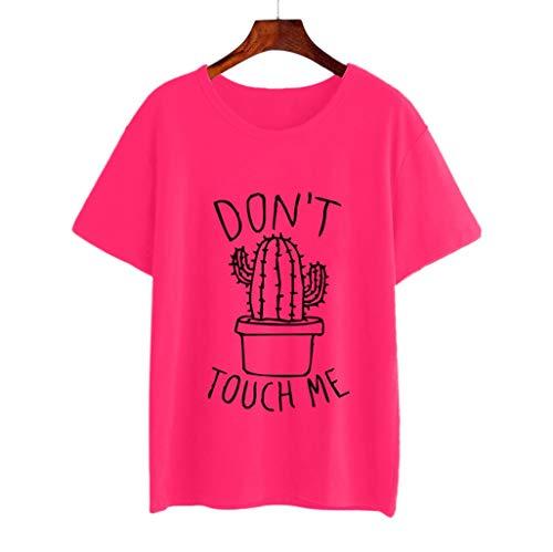 00597a5139 Camiseta de Mujer,riou Estampado de Cactus a la Moda para Mujer Color  sólido Cuello
