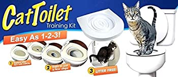 ADEPTNA Cat WC Siège d'entraînement-Bac à litière Support kit pour Animal Domestique Kitty Pot Train Système Herbe à Chat avec Step by Step Guide de Formation