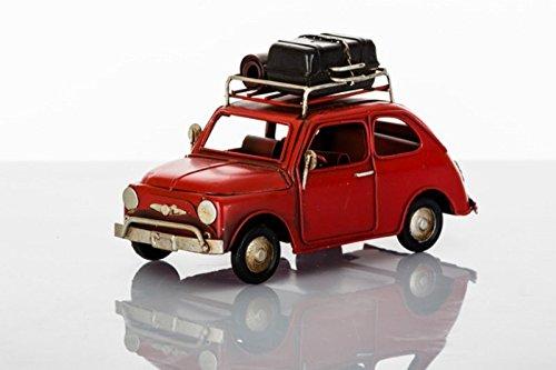 Cuorematto - modellino rifinitissimo in metallo di fiat 500 rossa vintage con bagagli poggiati sul portabagagli superiore,completo di confezione regalo - bomboniere comunione, nozze, matrimonio, regalo compleanno (kit 1 pz + confezione)