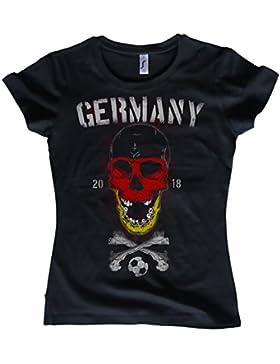 NG articlezz Camiseta para Señoras Alemania Calavera Fútbol Germany WM 2018 Calavera Talla S-XXL
