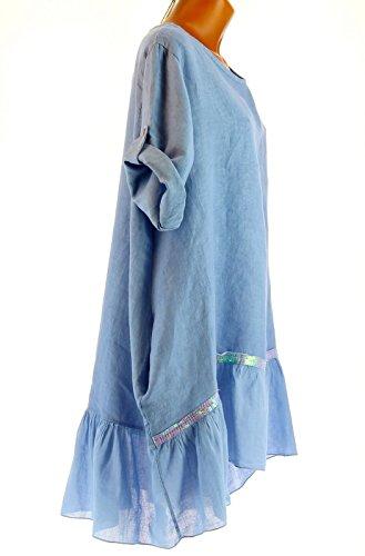 Charleselie94® - Tunique longue lin grande taille bohème bleu ANGELO BLEU Bleu