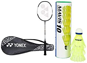 Yonex ZR 100L Aluminum Strung Badminton Racquet with Full Cover (Black) & Mavis 10 6X1 Nylon Shuttlecock (Blue/Yellow) Combo