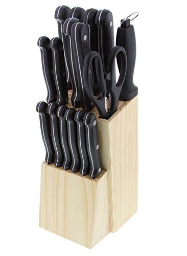 Pradel Excellence I7412 Bloc Bois de 17 Pièces de Coutellerie, INOX, 10,5 x 14,5 x 34,2 cm