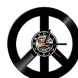 Reloj De Pared Símbolos De Paz Reloj De Vinilo CD Hecho A Mano Disco De Vinilo Reloj De...