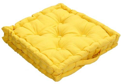 Homescapes Coussin de Chaise de couleur Jaune fait en 100 % Coton de 50x50 cm pour Chaise de Salon et Chaise de Jardin