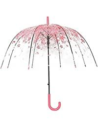Rokoo Paraguas Lluvia Mujeres Mango Largo Cerezo Princesa Champiñón Paraguas Transparente