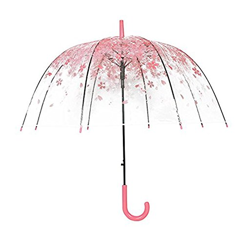 rokoo Frauen Regen Sonnenschirm langer Griff Cherry Blossom Pilz Prinzessin transparent Regenschirme rose (Blossom Cherry Prinzessin)