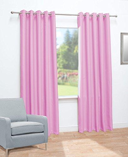 John Aird Eyelet Thermal Energy Saving Blackout Ready Made Curtains (Pink, 117cm Width x 137cm Drop (46″x 54″)
