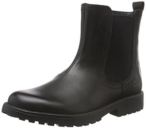 Clarks Kids Mädchen Rhea Amber Jnr Chelsea Boots, Schwarz (Black Leather), 36 EU