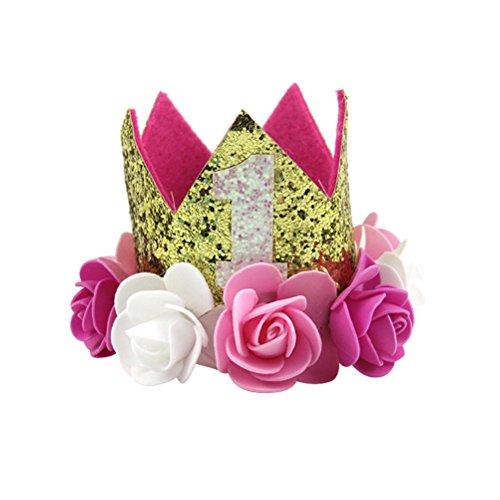 LUOEM Baby ersten Geburtstag Hut Baby Prinzessin Tiara Krone Gold Blume Stil Krone Stirnband Party Hut Haarband für Baby Girl (Pink)