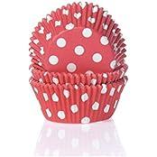 Muffinförmchen, rot mit weißen Punkten, 50 Stück - Papierbackförmchen