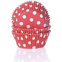 Moules à muffins motif polka dots blanc/rouge-lot de 50 caissettes en papier pour muffins