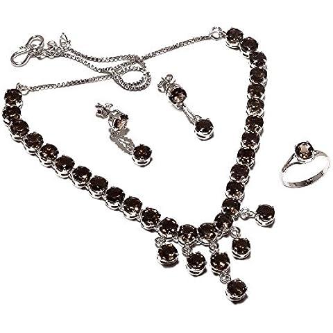Be You meraviglioso marrone affumicato diamante argento sterling placcato al rodio Set collana e orecchini per le