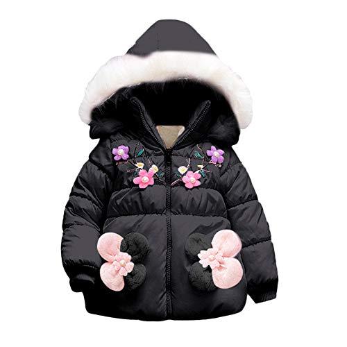 Oyedens Mädchen Warme Jacke Mit Kapuze Baumwolle Langarm Blumen Winter Mantel Baumwollfutter Winddicht Jacke Kinder Baby Floral Parka Dicke Hoodie Oberbekleidung Kleidung (6M-24M