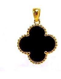 8329ff20540a RINYIN Collar de oro amarillo de 18 quilates con colgante de trébol de  ónice negro para