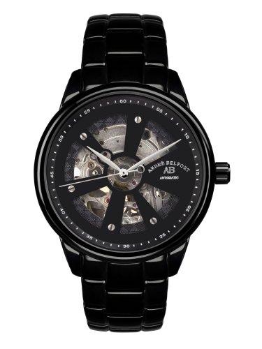 André Belfort 410168 - Reloj analógico de caballero automático con correa de acero inoxidable negra - sumergible a 50 metros
