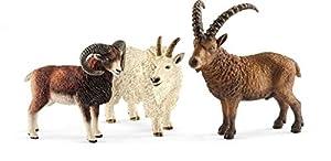 Schleich Wild Life - Figuras Animales de la Montaña, Incluye Cabra de las Rocosas, Íbice Albino y Muflón