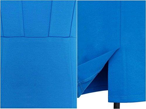 Smile YKK Steh-kragen Damen 1/2 Aerme Damen Bodycon Knielanges Kleid Cocktailkleid Festkleid Bleistiftkleid Blau