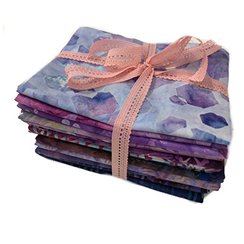 Batik Fat Quarter Bundle - Tela de Batik para Patchwork - 100% algodón - 15 piezas de 45 x 55 cm | Patchwork Republic. Col. Naturaleza Hexagon - Lila