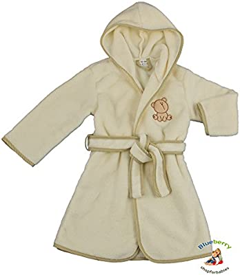 BlueberryShop Embroidered Luxurious Hooded Soft Warm and Fluffy Fleece Bathrobe, Robe, Dressing Gowns 1-7 Yrs ( 1-7 Yrs ) ( 1 - 2 Yrs )