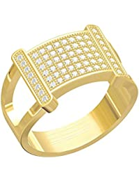 Spangel Fashion Designer 18 Ct. Gold Plated American Diamond Jewellery Ring For Men