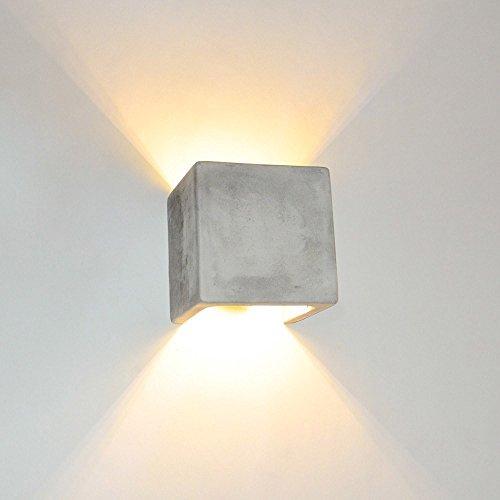Wandleuchte s.LUCE Plinth Up & Down aus Beton 13 x 13 cm grau moderne Wandlampe mit Lichteffekt Flur Treppenhausleuchte im Industriestil minimalistische Wohnzimmerlampe