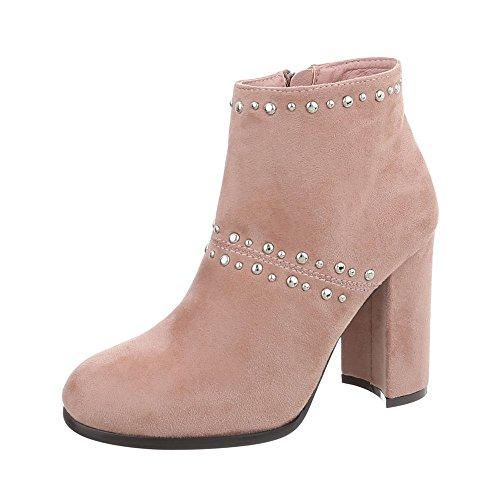 Ital-Design High Heel Stiefeletten Damen-Schuhe High Heel Stiefeletten Pump High Heels Reißverschluss Stiefeletten Altrosa, Gr 37, M275P-