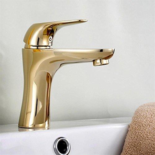 liu FuLoon Vintage Style Einzelsteuerung Rustikale Badezimmer-Hahn-Antike-Kupfer-Finish Waschbecken Wasserhahn mit Porzellan Guter Qualität (Gold) (Kupfer-finish Rustikale)