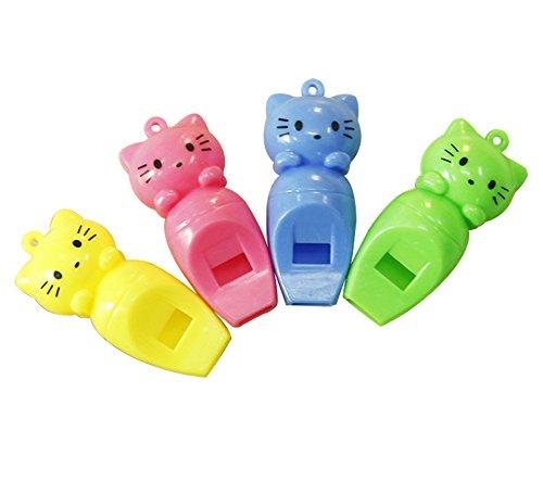 CDKJ Colorful Whistles aus Kunststoff mit Lanyards für Party Sport 12Stück zufällige Farbe