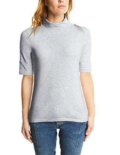 Street One Damen T-Shirt 311572, Grau (Cyber Grey Melange 10767), 40 (Rollkragen Ellenbogen)