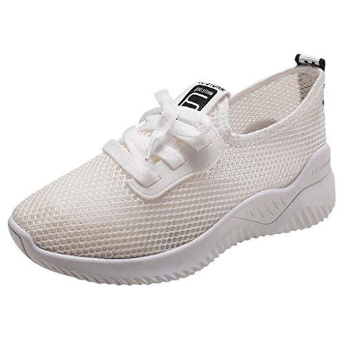 WQIANGHZI Damen Sneaker Weiss, Atmungsaktiv Sportschuhe Fitnessschuhe,Frauen Lace Up Mesh Laufschuhe Casual rutschfeste Running Fitness Textil Schuhe (37 EU, Beige)